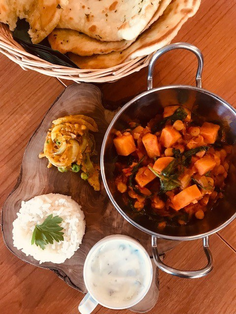 Butternut squash curry, basmati rice and homemade naan