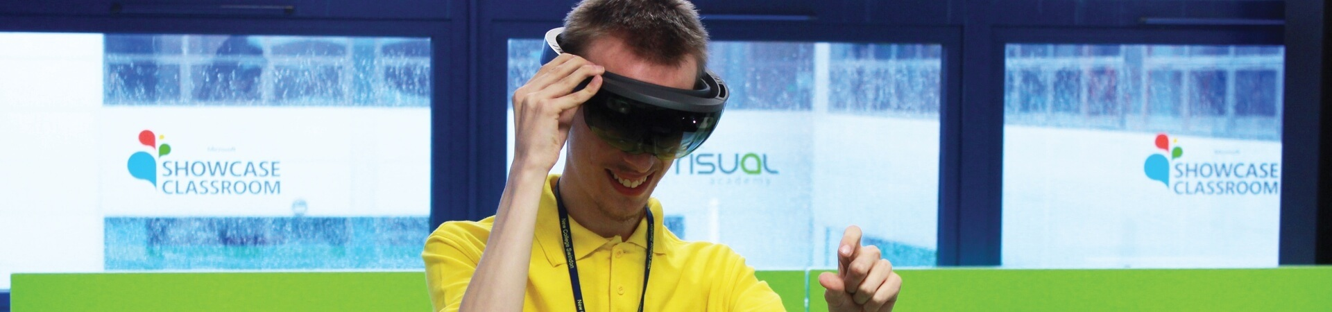 Student using a VR headset