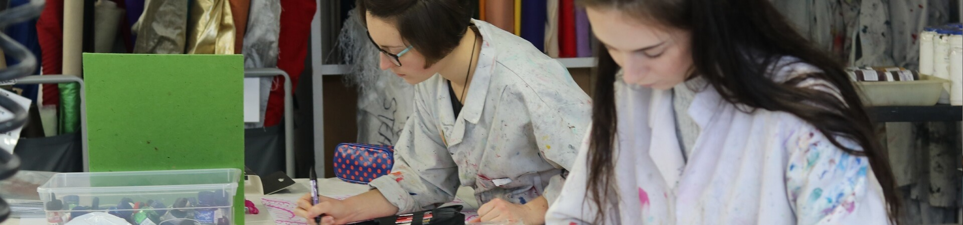 Students working in an Art and design lesson